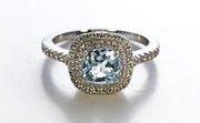 Double Frame Aquamarine Ring