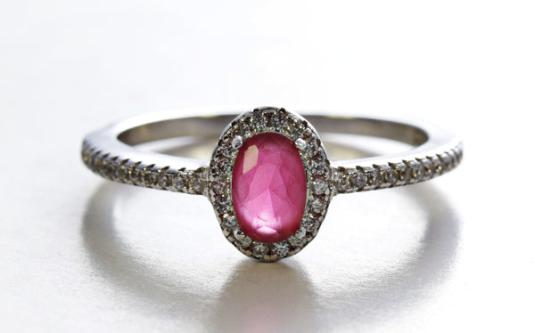Framed Oval Ruby Ring With Accents