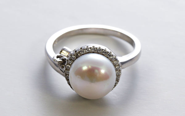 White Pearl Halo Ring with Zircon Charm