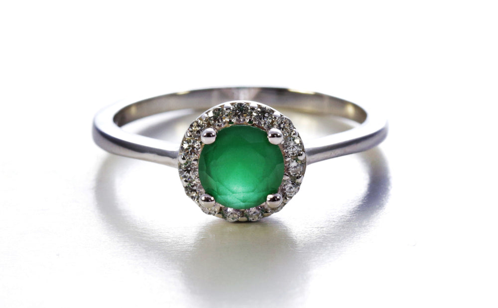 Emerald Halo Ring in Sterling Silver