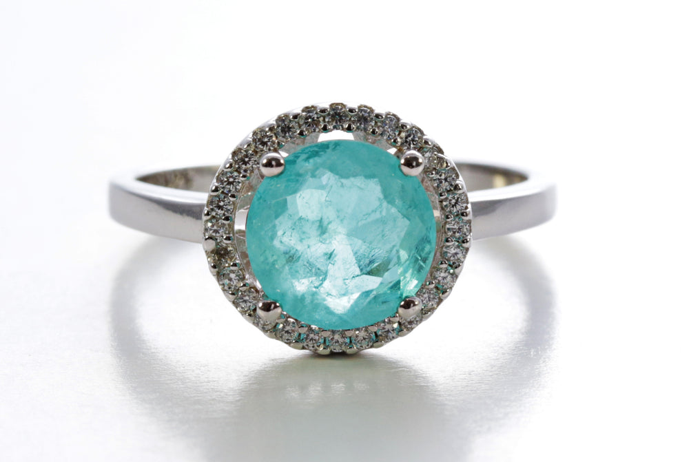 Round-Cut Emerald Halo Ring in Sterling Silver