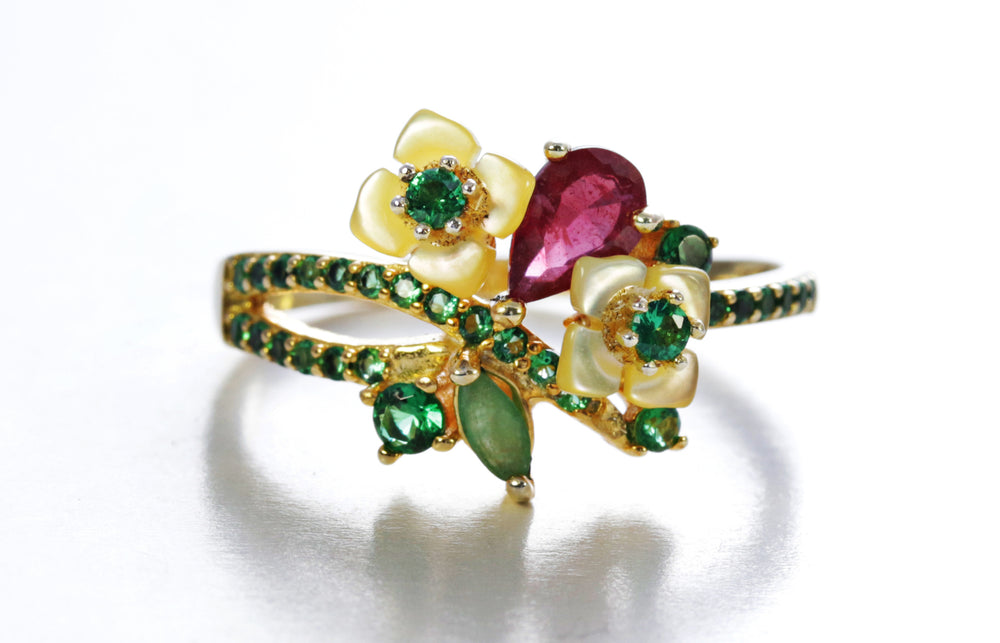 Floral Ring with Ruby, Emerald and Shell