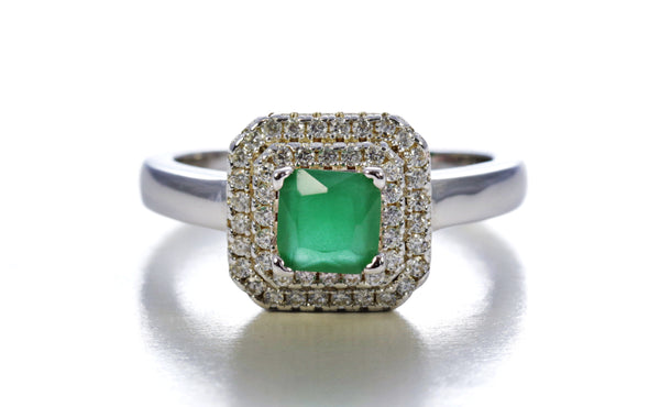 Double Frame Emerald Ring in Sterling Silver