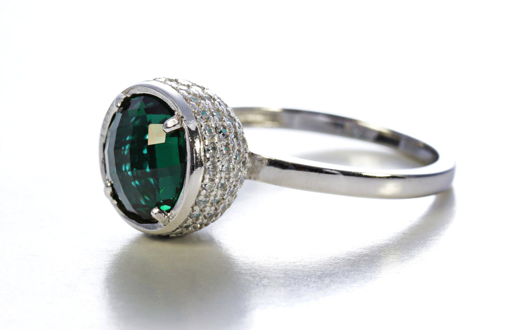 Emerald Round Ring in Sterling Silver