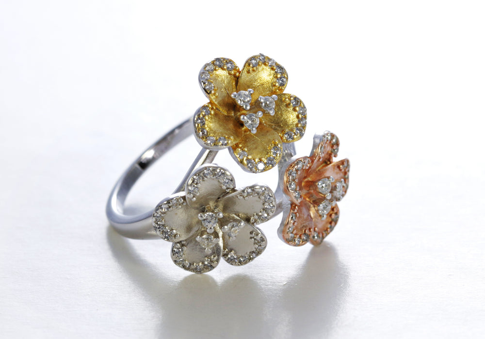 Floral Three Colour Zircon Ring in Sterling Silver
