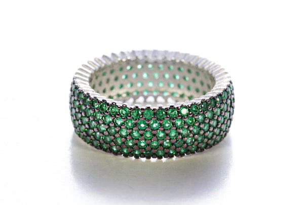 Five Row Emerald Micro Pave Ring