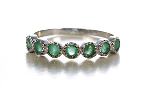 Seven Stone Emerald Ring in Sterling Silver