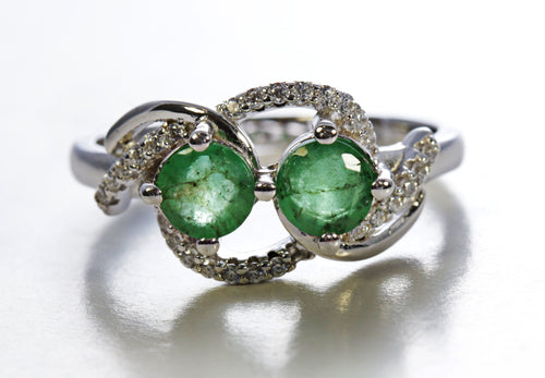 Emerald Two Round Stone Ring