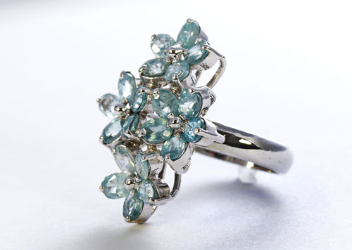 Floral Aquamarine Ring in Sterling Silver