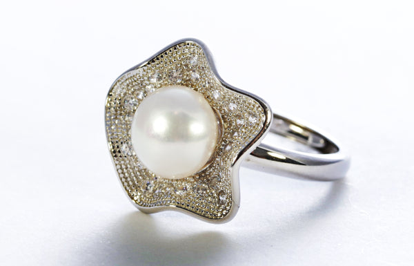 Pearl with Zircon Ring in Sterling Silver