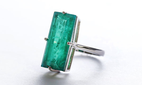 Large Emerald Stone Ring in Sterling Silver