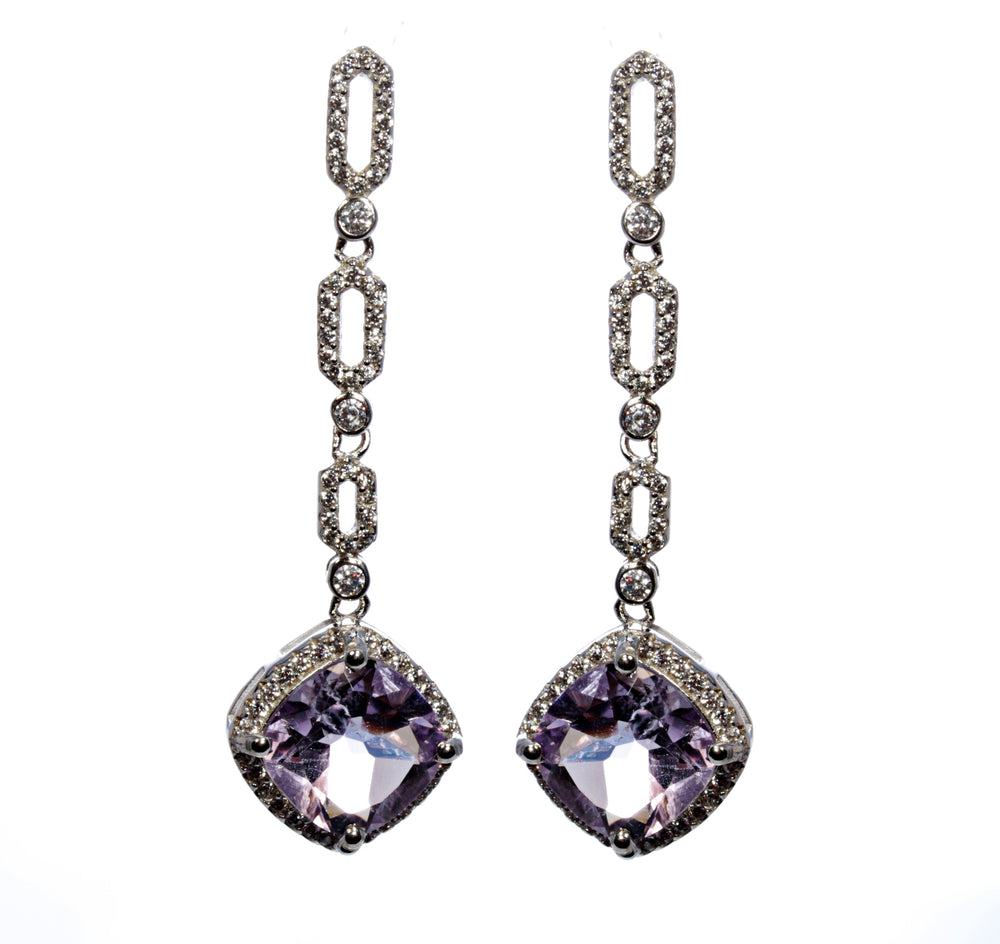 Cushion Cut Amethyst Earring in Sterling Silver