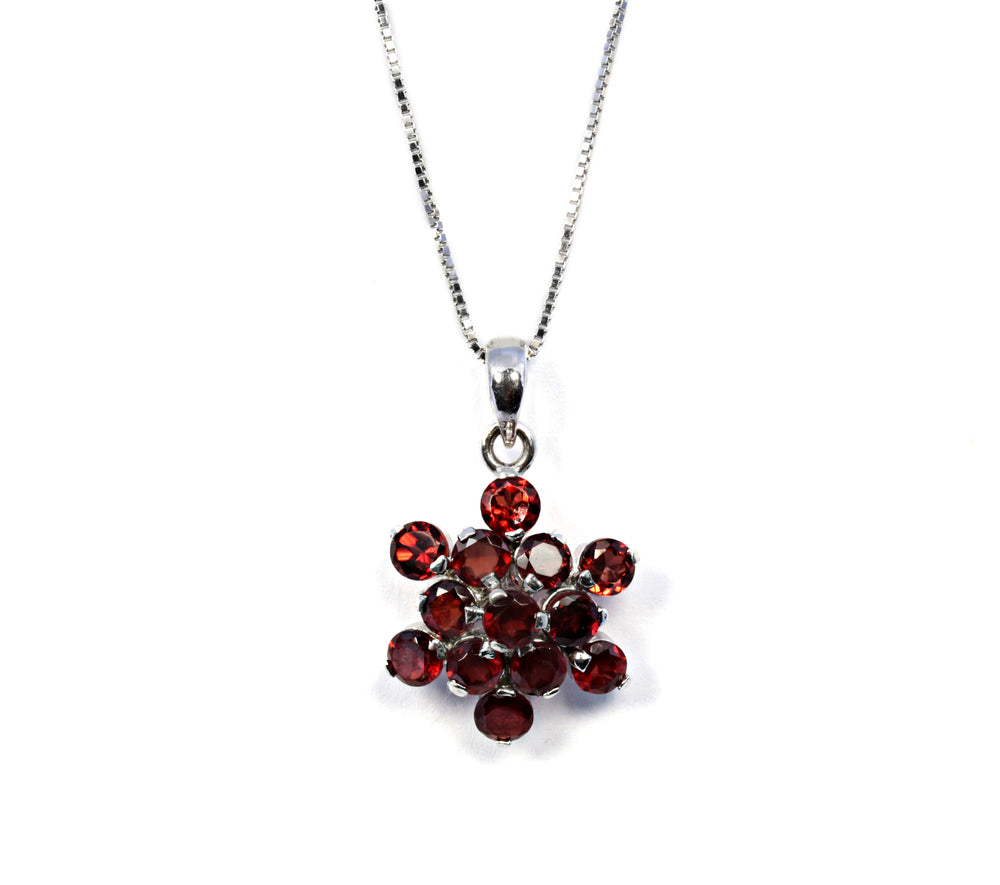 Round Garnet Flower Pendant in Sterling Silver