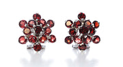 Garnet Round Stone Flower Earrings in Sterling Silver