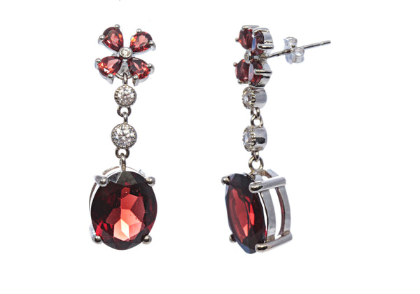 Oval Garnet Drop Earring in Sterling Silver