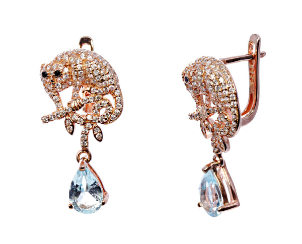 Aquamarine Droplet Feline Earrings in Sterling Silver
