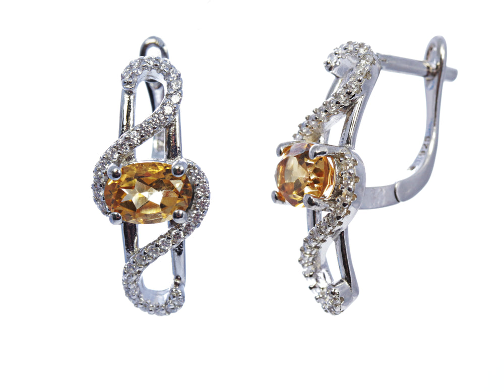 Oval Yellow Topaz Bypass Earring in Sterling Silver