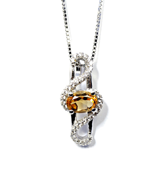 Oval Yellow Topaz Bypass Pendant in Sterling Silver