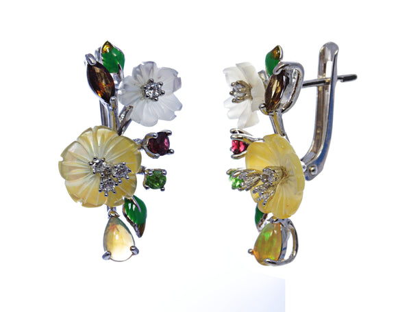 Floral Multi Stone Opal Earring in Sterling Silver