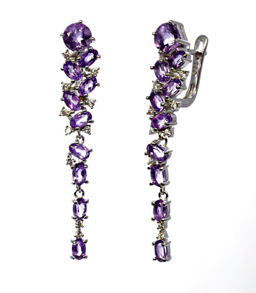 Multi Stone Amethyst Drop Earring in Sterling Silver
