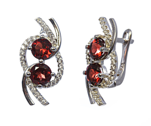 2 Round Stone Garnet Earrings in Sterling Silver