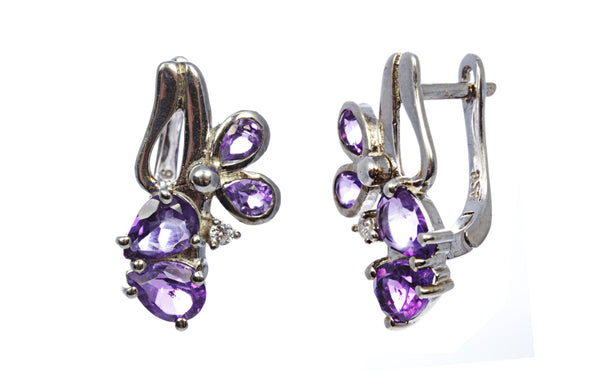 Amethyst Butterfly Earring in Sterling Silver
