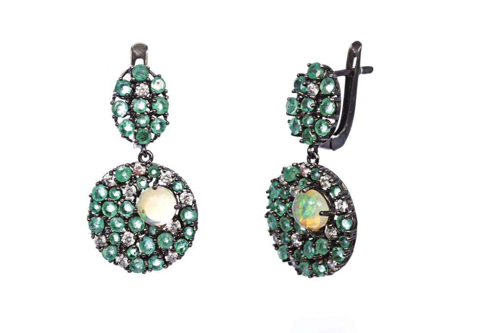 Emerald with Opal Multi-Stone Earring in Sterling Silver