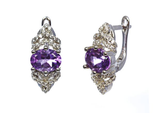 Oval Amethyst Earring with CZ Accents in Sterling Silver