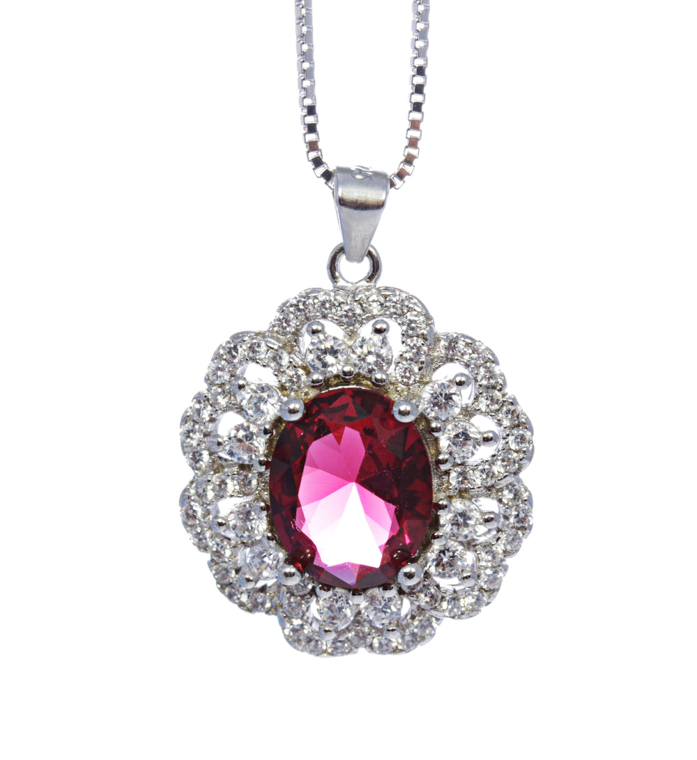 Oval Garnet Pendant with CZ Accents in Sterling Silver