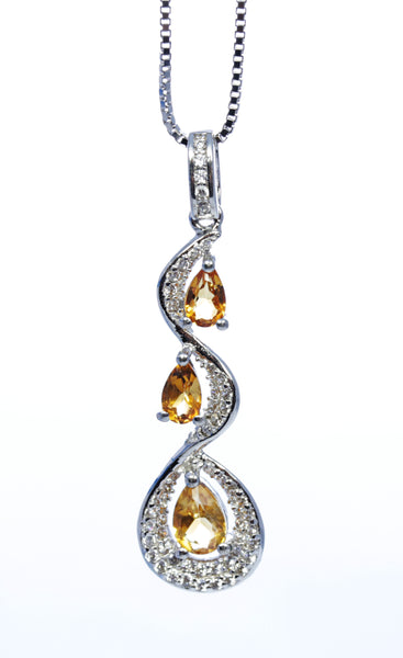 Pear Yellow Topaz Pendant in Sterling Silver