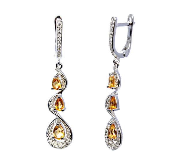 Pear Yellow Topaz Earring in Sterling Silver