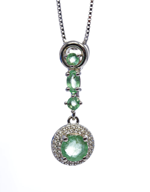 Round Emerald with Halo Drop Pendant in Sterling Silver