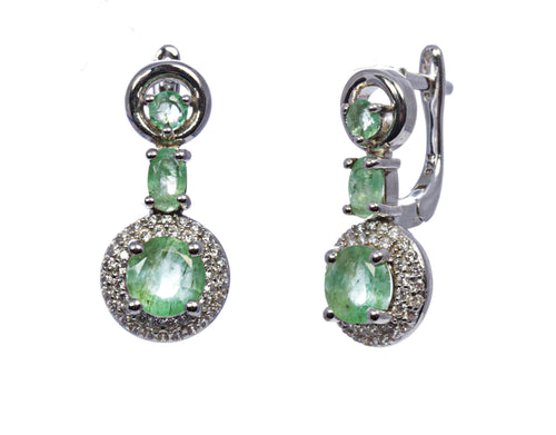 Round Emerald with Halo Drop Earring in Sterling Silver