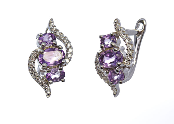 3 Stone Amethyst Bypass Earring in Sterling Silver