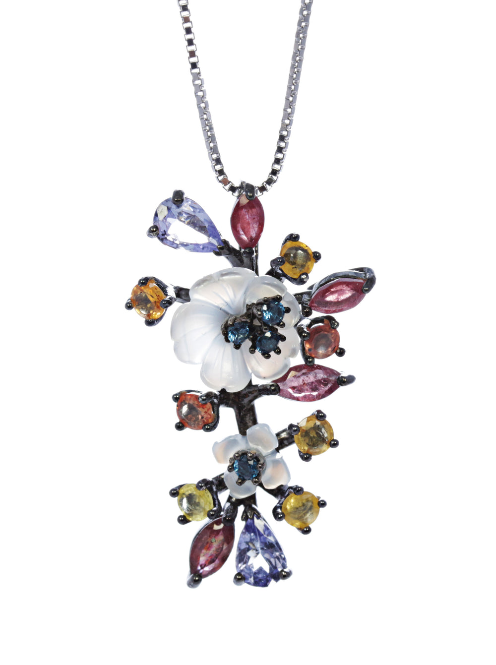 Multi Stone Floral Pendant with Ruby, Yellow Topaz, and Tanzanite in Sterling Silver