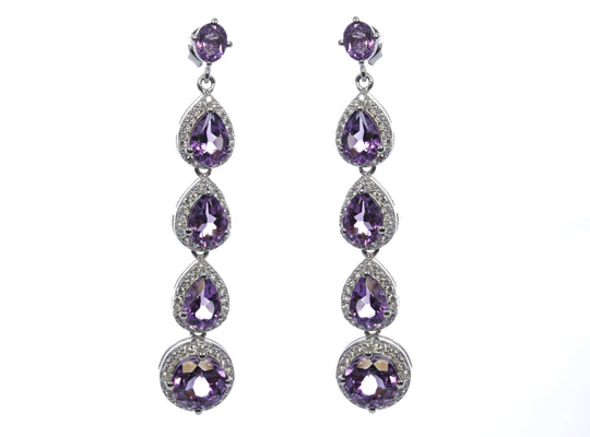 Amethyst with Halo Droplet Earring  in Sterling Silver