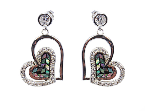 Mother of Pearl Heart Earring in Sterling Silver