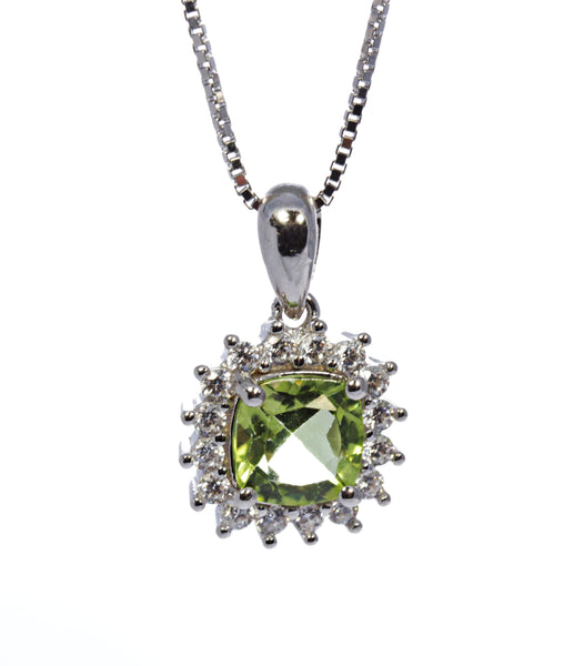 Cushion Peridot Pendant with CZ Accents in Sterling Silver