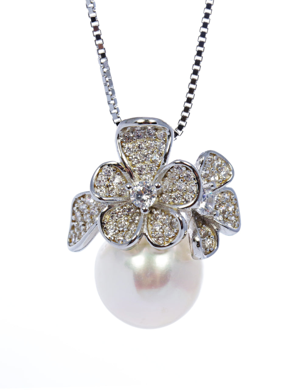 Pearl Flower Pendant with Zircon Accents in Sterling Silver