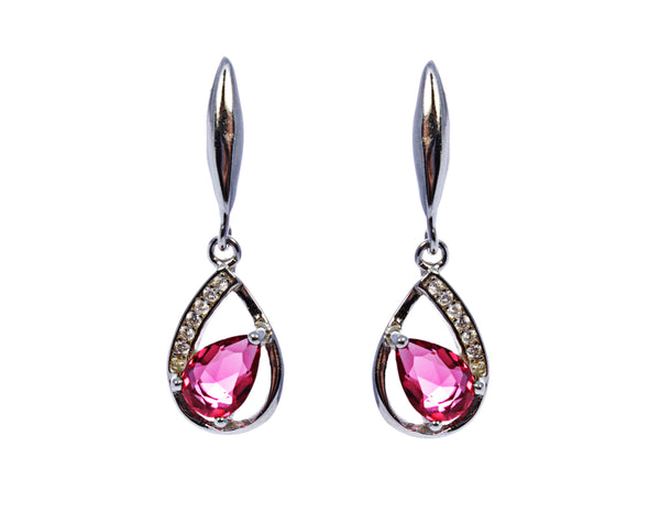 Pear Ruby Earring with CZ Accents in Sterling Silver