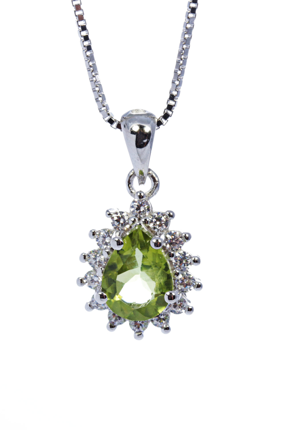 Pear Peridot Pendant with CZ Accents in Sterling Silver