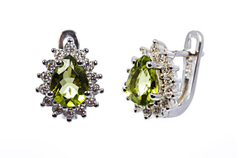 Pear Peridot Earring with CZ Accents in Sterling Silver