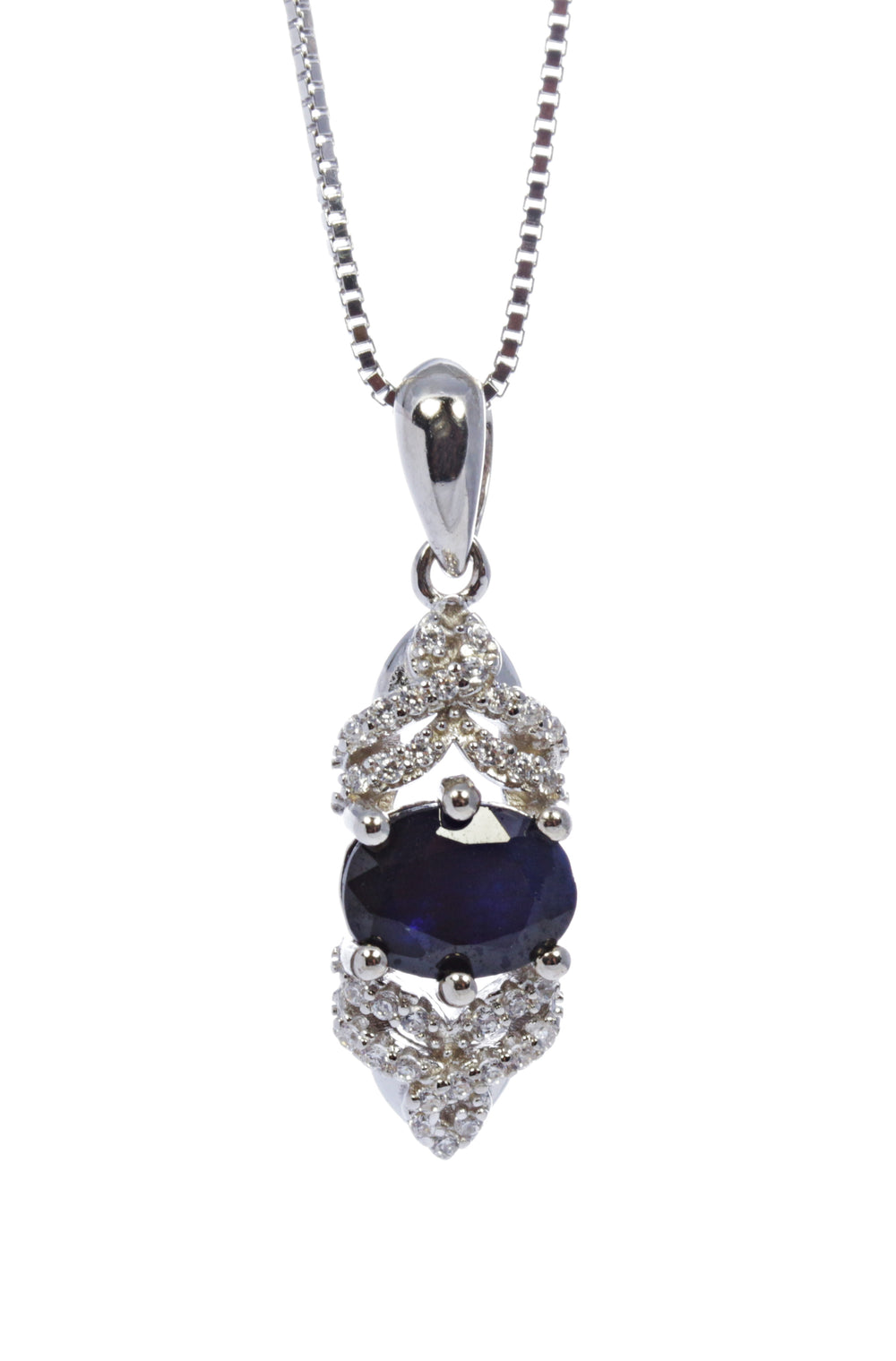 Oval Sapphire Pendant with CZ Accents in Sterling Silver