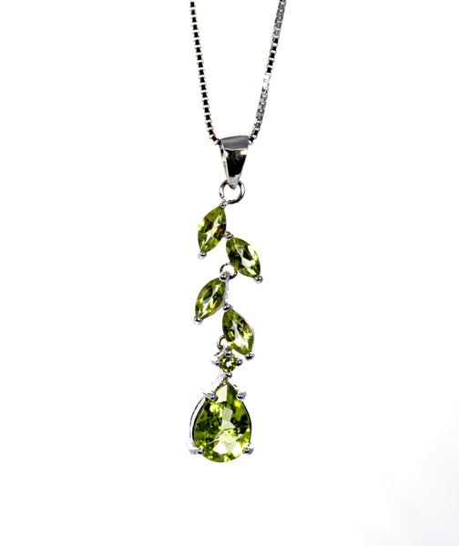Peridot Leaf Drop Pendant in Sterling Silver