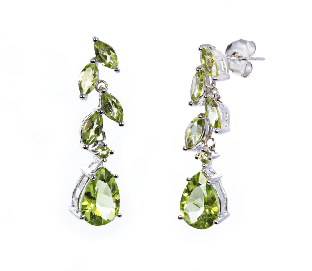 Peridot Leaf Drop Earring in Sterling Silver