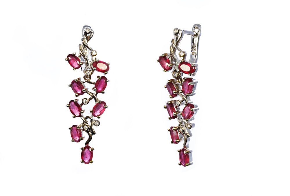 Multi Stone Ruby Cluster Earring in Sterling Silver