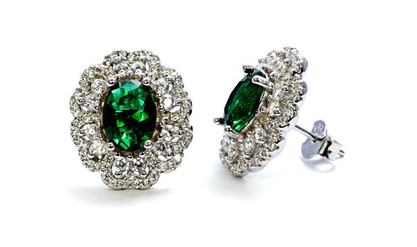 Oval Emerald Earring with CZ Accents in Sterling Silver