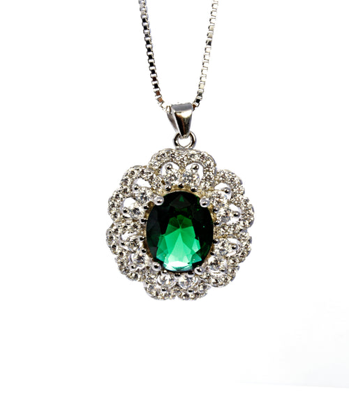 Oval Emerald Pendant with CZ Accents in Sterling Silver