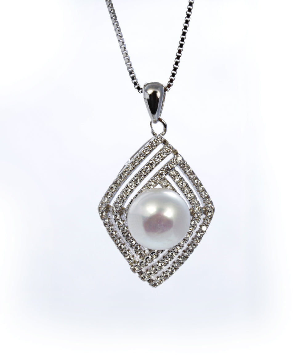Pearl Pendant with Zircon Accents in Sterling Silver