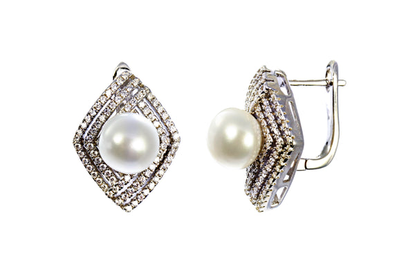 Pearl Earring with Zircon Accents in Sterling Silver